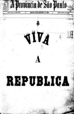 """""""Viva a República"""" estampou a capa da edição de 16/11/1889"""