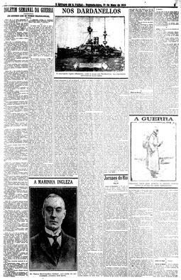 Boletim Semanal da Guerra, escrito por Julio Mesquita, tornou-se leitura obrigatória na cidade, 31/5/1915