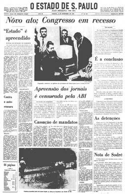 Publicado o Ato Institucional n.º5, 14/12/1968
