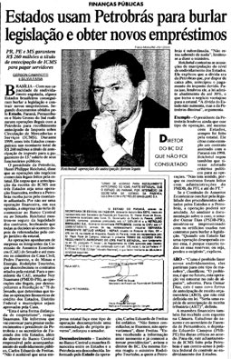 Reportagem publicada em 3/3/2000 mostra operações ilegais dos estados com a Petrobrás
