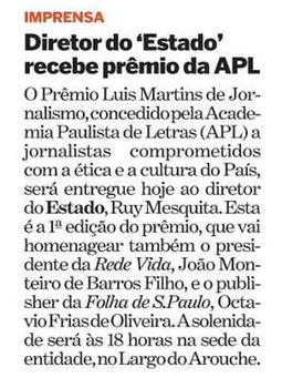 Ruy Mesquita recebe o Prêmio Luis Martins de Jornalismo