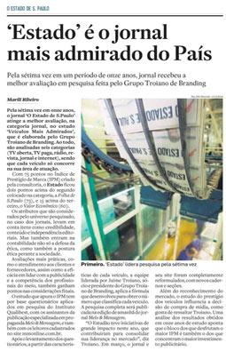 Estadão, jornal mais admirado do país, 5/12/2010
