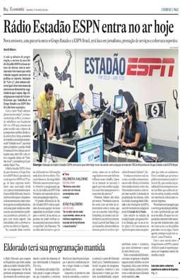 Estreia a rádio Estadão ESPN, 27/3/2011