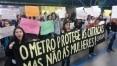 Mulheres protestam contra assédio sexual no metrô em SP