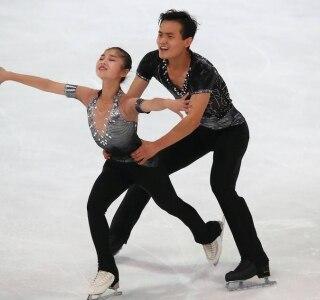 am - Oberstdorf, Germany - September 28, 2017 - Ryom Tae-Ok and Kim Ju-Sik of North Korea compete.