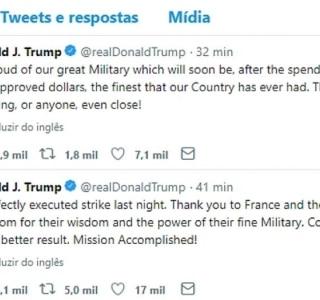 Trump agradece e exalta poderio militar dos EUA e dos aliados após ataques à Síria