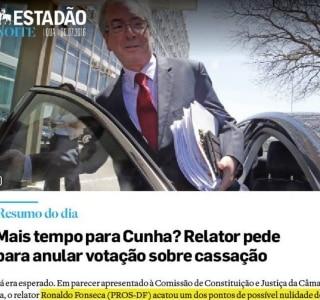 Mais tempo para Cunha? Veja no Estadão Noite