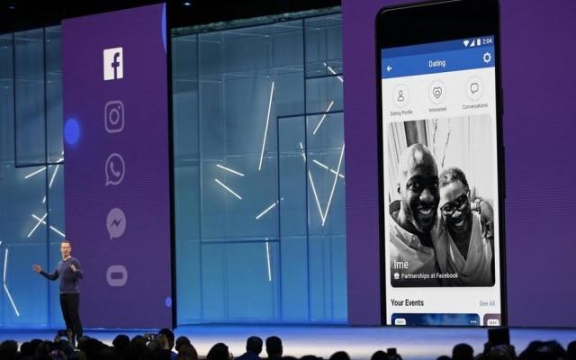 Mark Zuckerberg apresenta a função de namoro do Facebook durante a F8, conferência de desenvolvedores da empresa na Califórnia, no início de maio de 2018