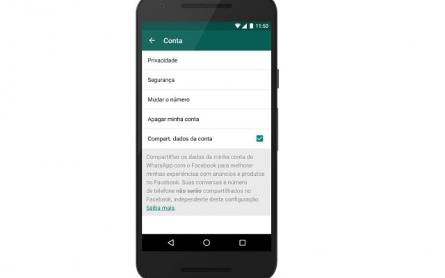 "Aba ""Conta"" pode ser encontrada dentro do menu de ""Configurações"" ou ""Ajustes"" do WhatsApp."