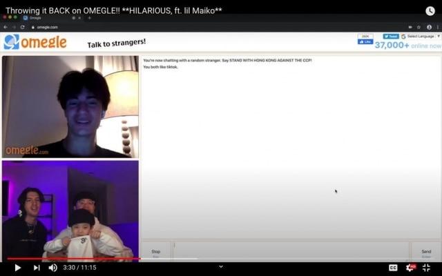 Michael Le (canto inferior esq.), uma estrela do TikTok com quase 35 milhões de seguidores, realizou uma surpresa com os fãs do Omegle, um site que combina visitantes aleatórios por meio de bate-papo por vídeo e texto