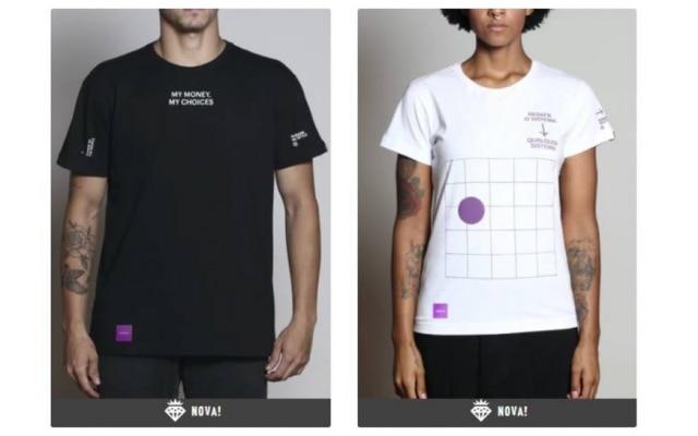 As camisetas do Nubank custam a partir deR$ 70