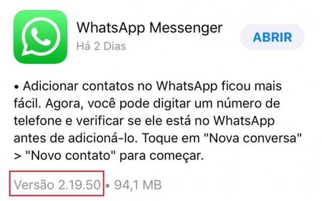 No iPhone, a versão corrigida do WhatsApp é a 2.19.51