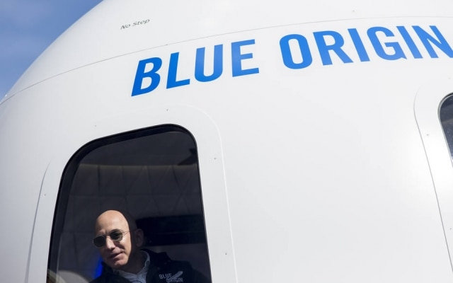 Jeff Bezos, na base da Blue Origin, no Colorado, interior dos EUA