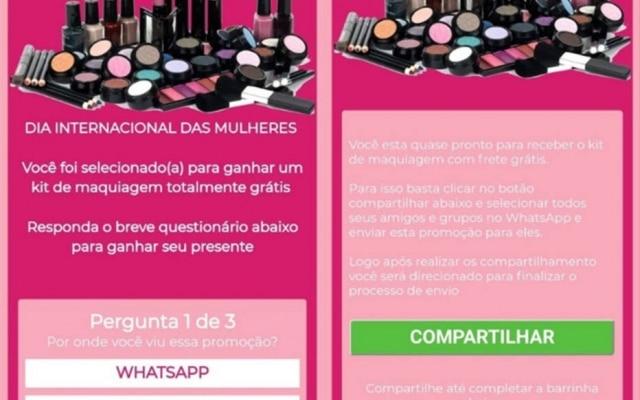 Golpe promete kit de maquiagem para Dia da Mulher