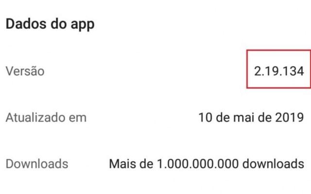 No Android, 2.19.134 indica que o celular está seguro, pois tem a versão mais recente do WhatsApp