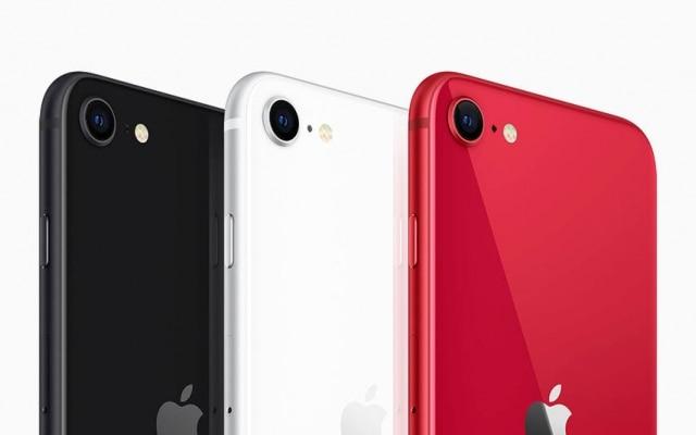 Os novos iPhones SE, em três cores diferentes