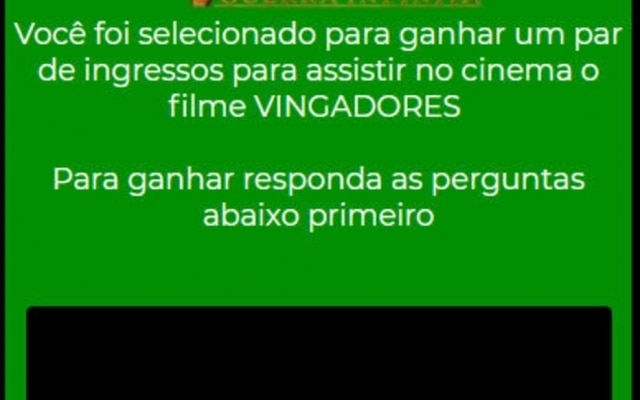 Golpe do WhatsApp promete par de ingressos para filme