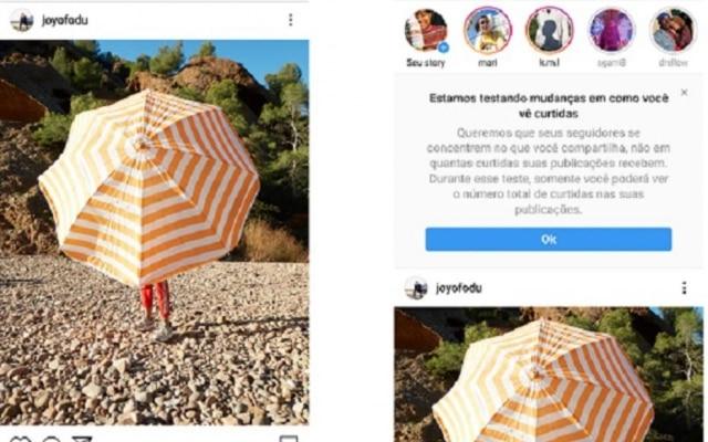 """Resultado de imagem para Instagram começa com testes para ocultar """"likes"""" no Brasil."""