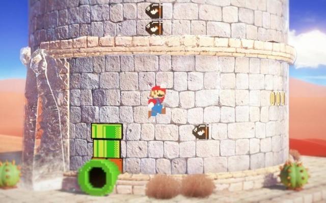 """Que tal jogar uma fase """"à moda antiga"""" de Mario, em duas dimensões, no meio de uma montanha em um cenário 3D, em uma grande declaração de respeito à história do personagem?"""