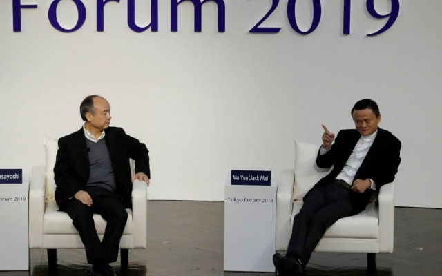 Masayoshi Son, presidente executivo do SoftBank, e Jack Ma, cofundador do Alibaba