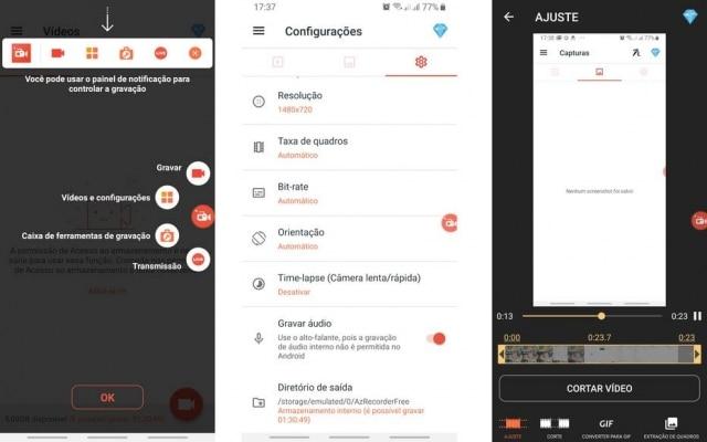 O AZ Gravador de tela é o aplicativo mais popular da categoria na Play Store. Ele conta com um botão flutuante para começar uma gravação mais rapidamente ou para acessar as configurações. Ele também conta com um editor de vídeos para modificar as suas gravações de forma preliminar.