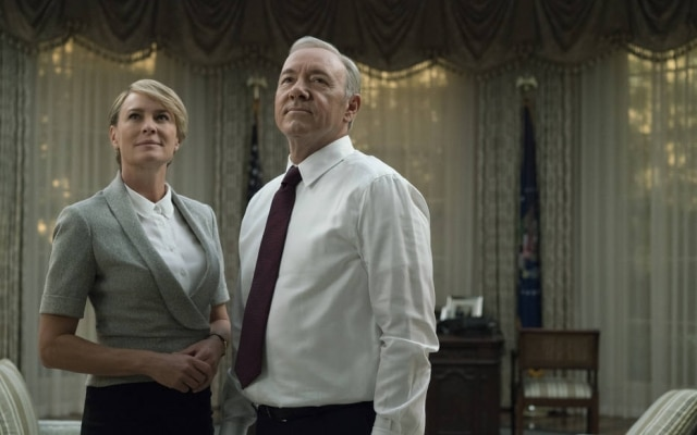 Cena da série 'House of Cards', na Netflix, com Robin Wright e Kevin Spacey