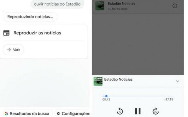É possível pedir para o Google Assistant o podcast de notícias do Estadão