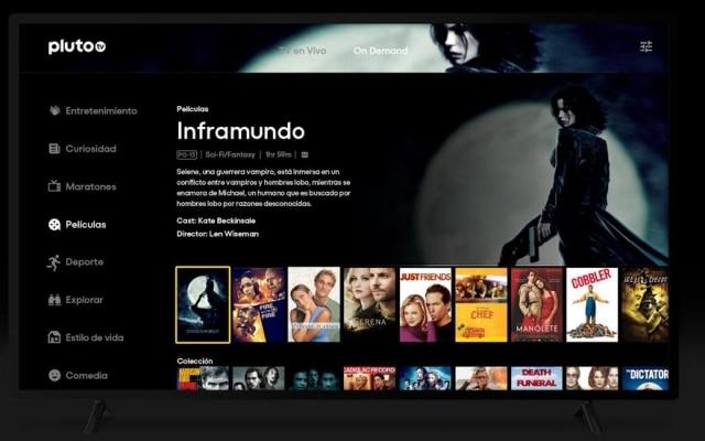 A Pluto TV tem canais ao vivo e serviço de filmes on demand.