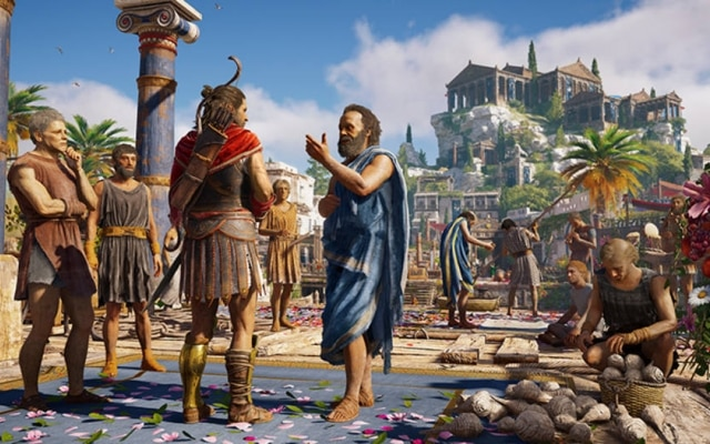Conversar com o filósofo grego Sócrates é um dos pontos altos de Assassin's Creed Odyssey, que se passa em 431 a.C.