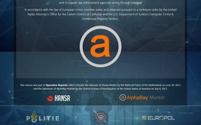 Aviso exibido no site AlphaBay, maior mercado negro online, após fechamento pelas autoridades