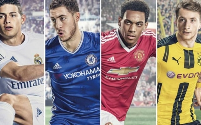 James Rodríguez, do Real Madrid, Eden Hazard, do Chelsea, Anthony Martial, do Manchester United e Marco Reus, do Borussia Dortmund, estampam a capa de 'FIFA 17'