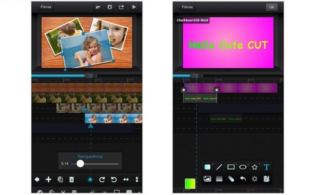 O Cute CUT conta com uma linha do tempo com múltiplas camadas de vídeo, áudio e imagem, mas é limitado a apenas 30 segundos na versão gratuita.