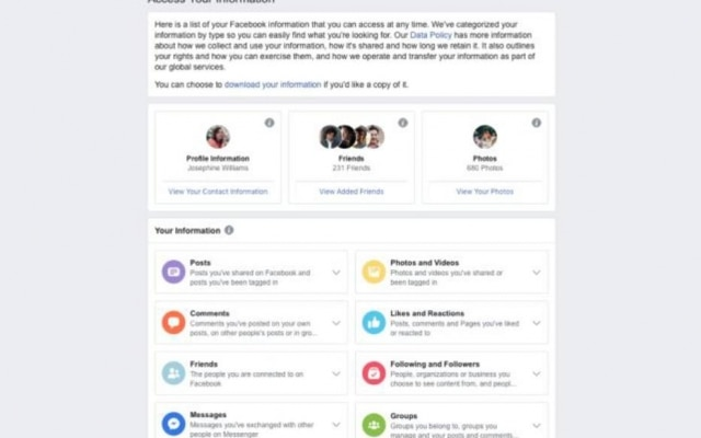 """Nova página """"Acesse suas informações"""" vai permitir verificar categorias de dados compartilhados na rede social"""