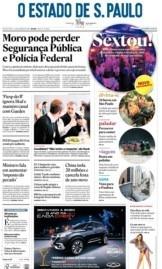 Capa O Estado de São Paulo - Sábado, 25 de janeiro de 2020