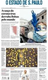 Capa O Estado de São Paulo - Terça, 25 de fevereiro de 2020
