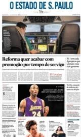 Capa O Estado de São Paulo - Segunda, 27 de janeiro de 2020