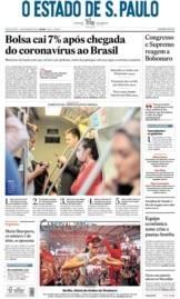 Capa O Estado de São Paulo - Sexta, 28 de fevereiro de 2020