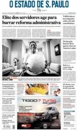 Capa O Estado de São Paulo - Sexta, 15 de novembro de 2019