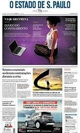 Capa O Estado de São Paulo - Domingo, 29 de março de 2020