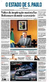 Capa O Estado de São Paulo - Sábado, 18 de janeiro de 2020