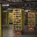 Kiva robots transport goods at an Amazon Fulfillment Center, ahead of the Christmas rush, in Tracy, California