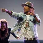 U.S. singer Pharrell Williams performs on the Stravinski Hall stage at the 48th Montreux Jazz Festival in Montreux
