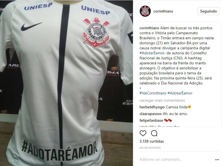 Corinthians usará hashtag na camisa para incentivar a adoção de crianças c6c1e1c6863be