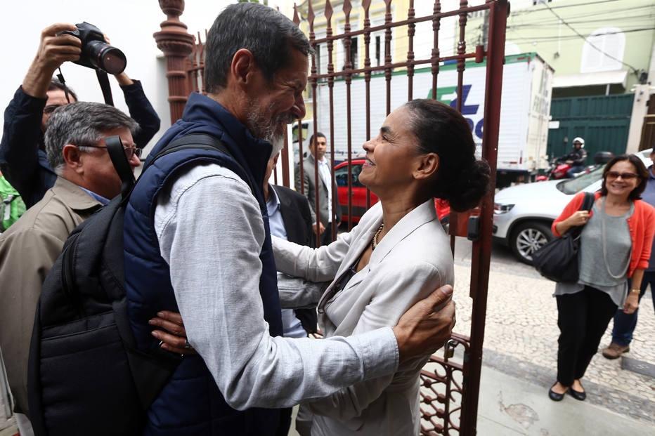 Eduardo Jorge, do PV, e Marina Silva, da Rede, em evento de campanha no Rio