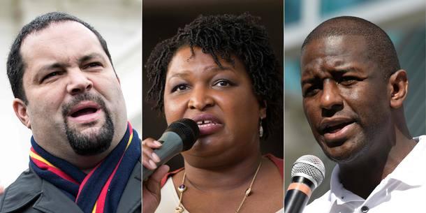 Os democratas Ben Jealous (E), em Maryland, Stacey Abrams, na Geórgia, e Andrew Gillum, na Flórida, podem se tornar os primeiros governadores negros de seus Estados