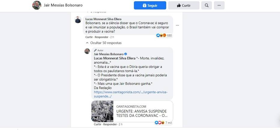 Post de Bolsonaro