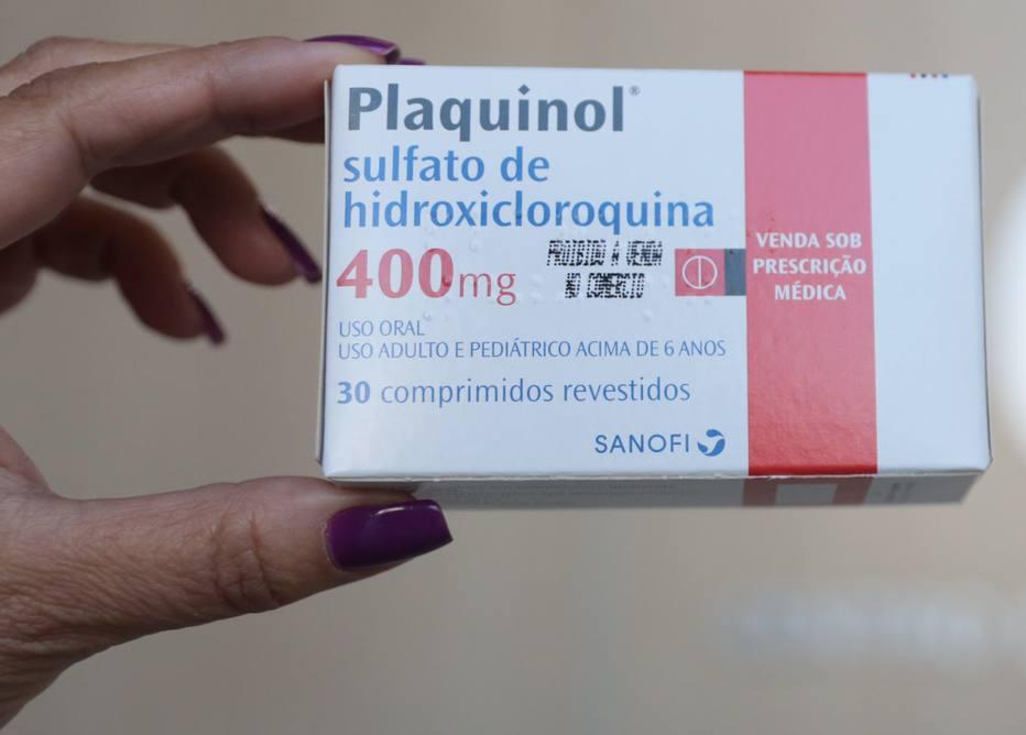 Caixa do remedio Sulfato de Hidroxicloroquina, mais conhecido como Plaquinol.