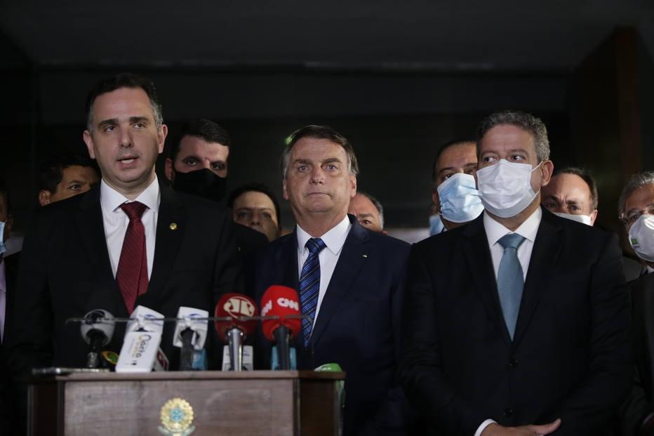Rodrigo Pacheco, Jair Bolsonaro e Arthur Lira
