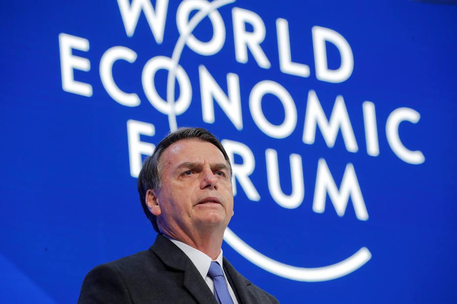 Presidente Jair Bolsonaro discursa no Fórum Econômico Mundial, em Davos, na Suíça