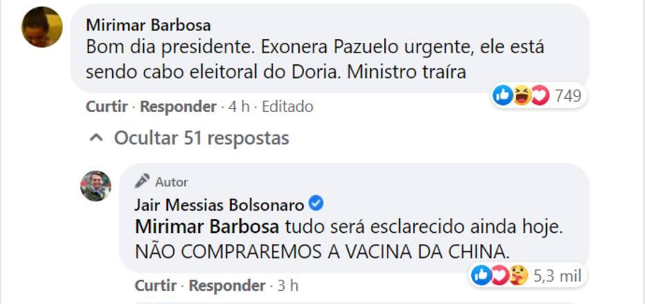 Não será comprada', diz Bolsonaro sobre vacina chinesa - Saúde - Estadão